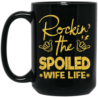 BigProStore Rockin The Spoiled Wife Life Mug Afro Girl Rock Pro African Coffee Cup BM15OZ 15 oz. Black Mug / Black / One Size Coffee Mug