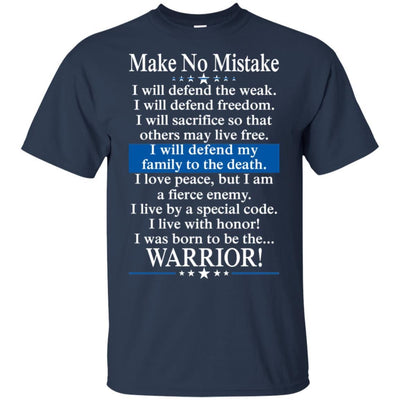 BigProStore Police Officer T-Shirt Make No Mistake Thin Blue Line Cop Tee Gift G200 Gildan Ultra Cotton T-Shirt / Navy / S T-shirt