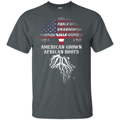 BigProStore American Grown African Roots T-Shirt Afro African American Graphic Tee G200 Gildan Ultra Cotton T-Shirt / Dark Heather / S T-shirt