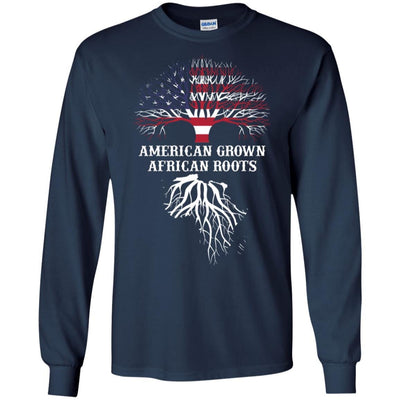 BigProStore American Grown African Roots T-Shirt Afro African American Graphic Tee G240 Gildan LS Ultra Cotton T-Shirt / Navy / S T-shirt
