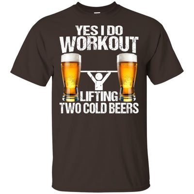 BigProStore Yes I Do Workout Lifting Two Cold Beers T-Shirt Funny Beer Lover Shirt G200 Gildan Ultra Cotton T-Shirt / Dark Chocolate / S T-shirt