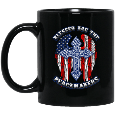 BigProStore Police Mug Blessed Are The Peacemakers Law Enforcement Gifts BM11OZ 11 oz. Black Mug / Black / One Size Coffee Mug