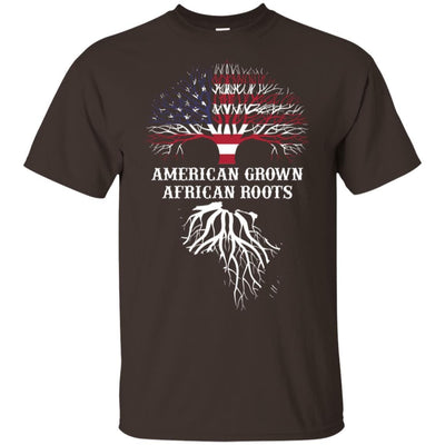 BigProStore American Grown African Roots T-Shirt Afro African American Graphic Tee G200 Gildan Ultra Cotton T-Shirt / Dark Chocolate / S T-shirt