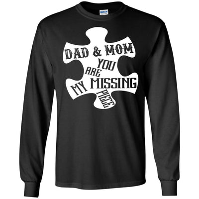 BigProStore Dad And Mom You Are My Missing Piece T-Shirt Father's Day Gift Idea G240 Gildan LS Ultra Cotton T-Shirt / Black / S T-shirt