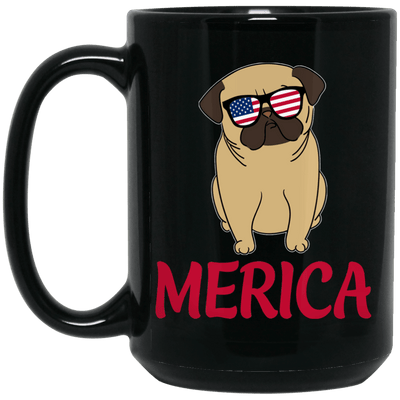 BigProStore Merica Pug Mug Amazig 4th July Pug Gifts For Puggy Puppies Lover BM15OZ 15 oz. Black Mug / Black / One Size Coffee Mug