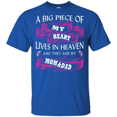 BigProStore A Big Piece Of My Heart Lives In Heaven Is My Angel Dad Mom T-Shirt G200 Gildan Ultra Cotton T-Shirt / Royal / S T-shirt