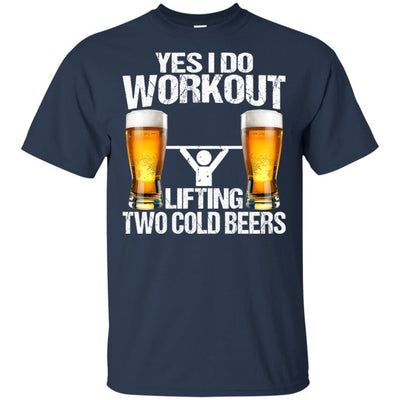 BigProStore Yes I Do Workout Lifting Two Cold Beers T-Shirt Funny Beer Lover Shirt G200 Gildan Ultra Cotton T-Shirt / Navy / S T-shirt