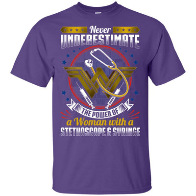 BigProStore Never Underestimate A Woman With A Stethoscope Syringe Nursing Shirt G200 Gildan Ultra Cotton T-Shirt / Purple / S T-shirt