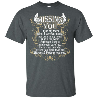 BigProStore Missing You Quote I Love My Daddy T-Shirt Cool Father's Day Gift Idea G200 Gildan Ultra Cotton T-Shirt / Dark Heather / S T-shirt
