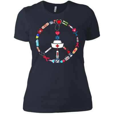 BigProStore Nurse Peace Day Cute Nursing Symbol Device T-Shirt Design Fashion Tee NL3900 Next Level Ladies' Boyfriend T-Shirt / Indigo / X-Small T-shirt