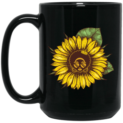 BigProStore Sunflower African American Coffee Mug Melanin Women Afro Girl Pride Cup BM15OZ 15 oz. Black Mug / Black / One Size Coffee Mug