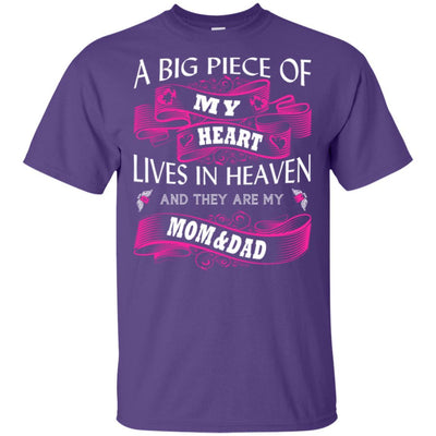 BigProStore A Big Piece Of My Heart Lives In Heaven Is My Angel Dad Mom T-Shirt G200 Gildan Ultra Cotton T-Shirt / Purple / S T-shirt