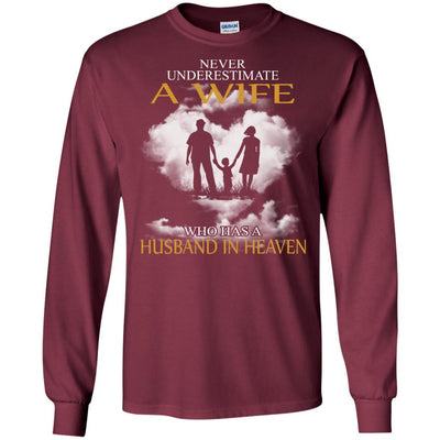 BigProStore My Husband Is In Heaven T-Shirt I Love You Special Father's Day Gift G240 Gildan LS Ultra Cotton T-Shirt / Maroon / S T-shirt