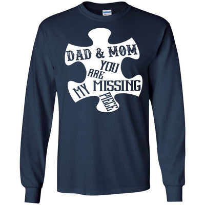 BigProStore Dad And Mom You Are My Missing Piece T-Shirt Father's Day Gift Idea G240 Gildan LS Ultra Cotton T-Shirt / Navy / S T-shirt