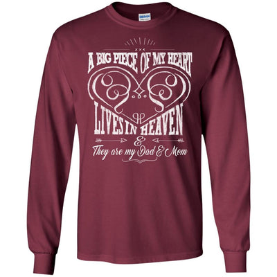 BigProStore They Are My Dad And Mom Angels T-Shirt Missing Parents In Heave Gift G240 Gildan LS Ultra Cotton T-Shirt / Maroon / S T-shirt