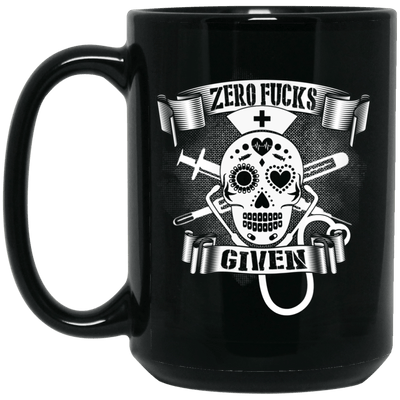 BigProStore Nurse Mug Zero Fucks Given Cool Nurses Nursing Students Gift Idea BM15OZ 15 oz. Black Mug / Black / One Size Coffee Mug
