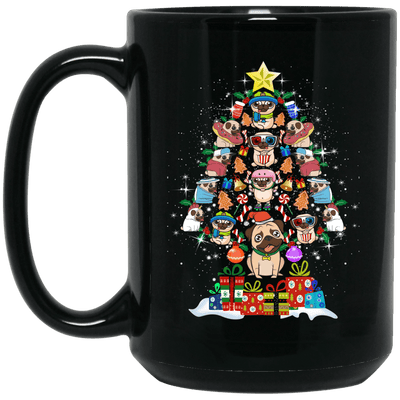 BigProStore Pug Mug Christmas Tree Pug Gifts For Puggy Puppies Lover BM15OZ 15 oz. Black Mug / Black / One Size Coffee Mug
