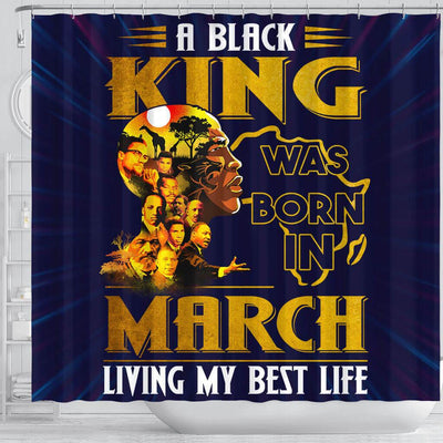 BigProStore Fancy A Black King Was Born In March African American Print Shower Curtains Afro Bathroom Accessories BPS214 Shower Curtain