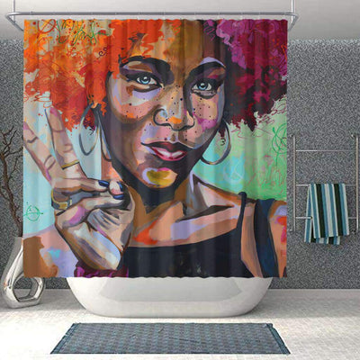 BigProStore Fancy African American Art Shower Curtains Melanin Afro Girl Bathroom Accessories BPS0063 Small (165x180cm | 65x72in) Shower Curtain