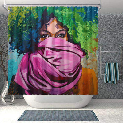 BigProStore Fancy African American Black Art Shower Curtain Afro Lady Bathroom Decor Idea BPS0023 Small (165x180cm | 65x72in) Shower Curtain
