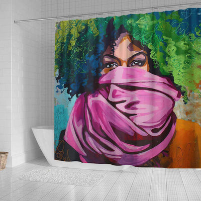 BigProStore Fancy African American Black Art Shower Curtain Afro Lady Bathroom Decor Idea BPS0023 Shower Curtain