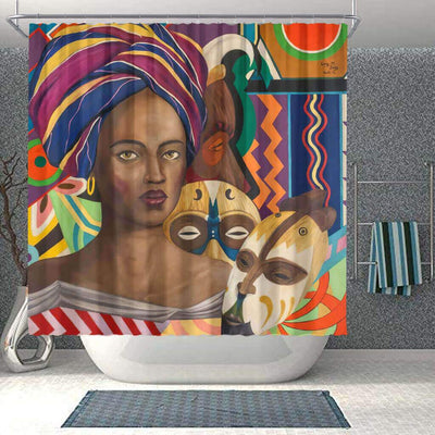 BigProStore Fancy African Inspired Shower Curtains African Lady Bathroom Decor Idea BPS0102 Small (165x180cm | 65x72in) Shower Curtain