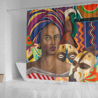 BigProStore Fancy African Inspired Shower Curtains African Lady Bathroom Decor Idea BPS0102 Shower Curtain
