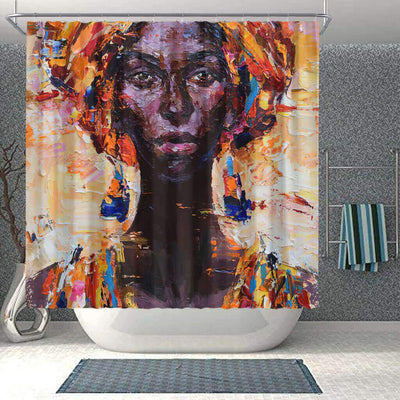 BigProStore Fancy African Print Shower Curtains African Woman Bathroom Designs BPS0049 Small (165x180cm | 65x72in) Shower Curtain