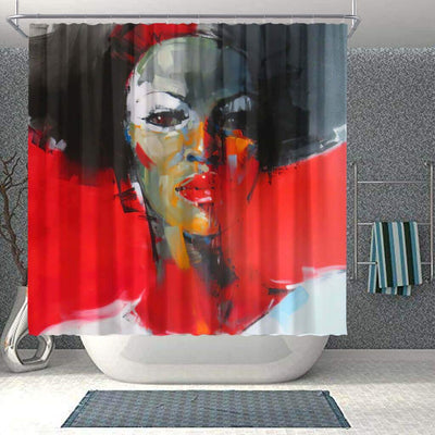 BigProStore Fancy African Shower Curtain Melanin Afro Girl Bathroom Decor Accessories BPS0130 Small (165x180cm | 65x72in) Shower Curtain