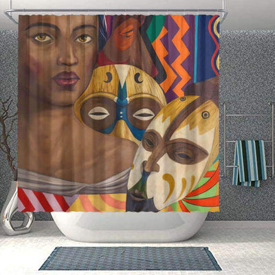 BigProStore Fancy Afro American Shower Curtains Melanin Girl Bathroom Accessories BPS0103 Small (165x180cm | 65x72in) Shower Curtain