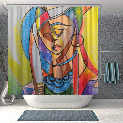 BigProStore Fancy Afrocentric Shower Curtains Afro Girl Bathroom Designs BPS0007 Small (165x180cm | 65x72in) Shower Curtain