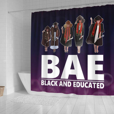 BigProStore Fancy BAE Black ANd Educated Afro Girls African American Themed Shower Curtains African Bathroom Decor BPS050 Small (165x180cm | 65x72in) Shower Curtain