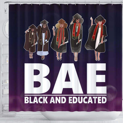 BigProStore Fancy BAE Black ANd Educated Afro Girls African American Themed Shower Curtains African Bathroom Decor BPS050 Shower Curtain