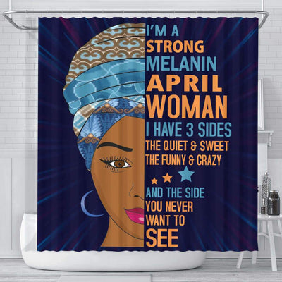 BigProStore Fancy I Am A Strong Melanin April Woman Birth Month African American Themed Shower Curtains Afrocentric Bathroom Accessories BPS041 Small (165x180cm | 65x72in) Shower Curtain