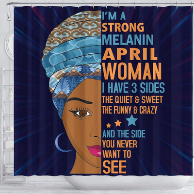 BigProStore Fancy I Am A Strong Melanin April Woman Birth Month African American Themed Shower Curtains Afrocentric Bathroom Accessories BPS041 Shower Curtain