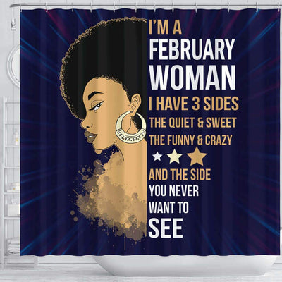 BigProStore Fancy I'm A February Woman Afro Girl African Style Shower Curtains Afro Bathroom Accessories BPS103 Shower Curtain