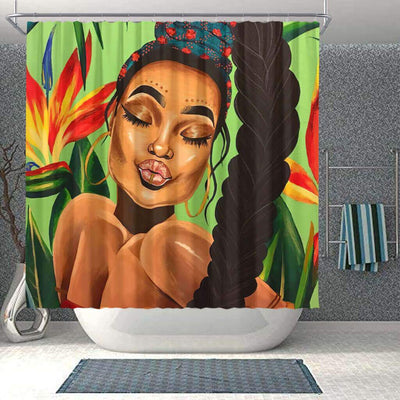 BigProStore Fancy Natural Hair Shower Curtain African Queen Bathroom Decor Idea BPS0204 Small (165x180cm | 65x72in) Shower Curtain