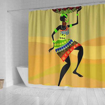BigProStore Fancy Natural Hair Shower Curtain Afro Lady Bathroom Decor BPS0252 Shower Curtain