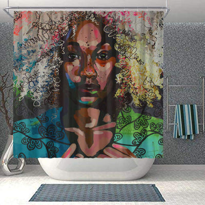 BigProStore Fancy Natural Hair Shower Curtain Melanin Afro Woman Bathroom Accessories BPS0044 Small (165x180cm | 65x72in) Shower Curtain