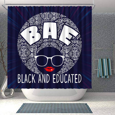 BigProStore Fancy Natural Hair Woman BAE Black And Educated African American Inspired Shower Curtains Afrocentric Bathroom Decor BPS183 Shower Curtain