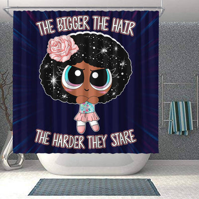BigProStore Fancy The Bigger The Hair The Harder They Stare Afro Girl Black History Shower Curtains African Bathroom Accessories BPS217 Shower Curtain