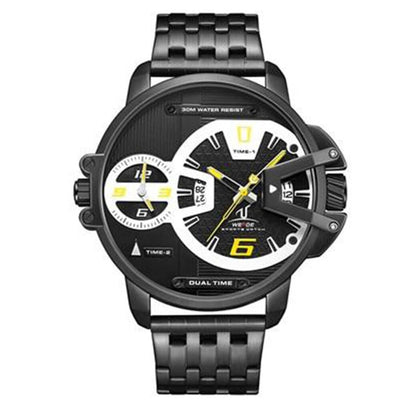 BigProStore Firefighter Watch Sport Military Stainless Steel Firemen Wristwatch Black - Yellow Dial Wristwatch