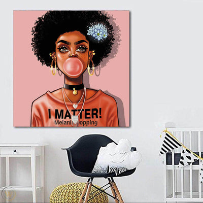 "BigProStore Framed Black Art Beautiful African American Woman African American Abstract Art Afrocentric Home Decor Ideas BPS96178 24"" x 24"" x 0.75"" Square Canvas"