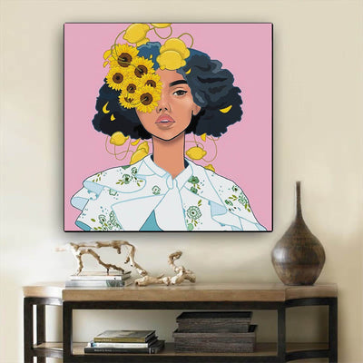 "BigProStore Framed Black Art Beautiful Afro American Woman African American Women Art Afrocentric Home Decor Ideas BPS72627 12"" x 12"" x 0.75"" Square Canvas"