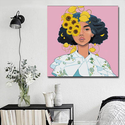"BigProStore Framed Black Art Beautiful Afro American Woman African American Women Art Afrocentric Home Decor Ideas BPS72627 16"" x 16"" x 0.75"" Square Canvas"