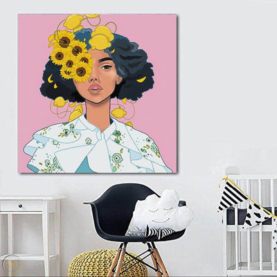 "BigProStore Framed Black Art Beautiful Afro American Woman African American Women Art Afrocentric Home Decor Ideas BPS72627 24"" x 24"" x 0.75"" Square Canvas"