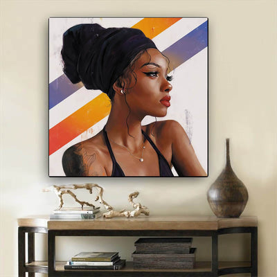 "BigProStore Framed Black Art Beautiful Afro Girl African American Canvas Wall Art Afrocentric Decor BPS12114 12"" x 12"" x 0.75"" Square Canvas"