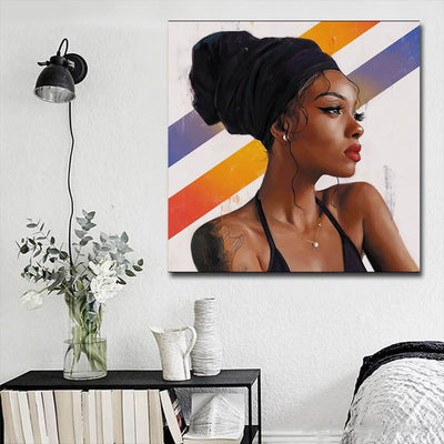 "BigProStore Framed Black Art Beautiful Afro Girl African American Canvas Wall Art Afrocentric Decor BPS12114 16"" x 16"" x 0.75"" Square Canvas"
