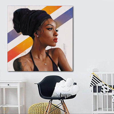 "BigProStore Framed Black Art Beautiful Afro Girl African American Canvas Wall Art Afrocentric Decor BPS12114 24"" x 24"" x 0.75"" Square Canvas"