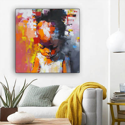 "BigProStore Framed Black Art Beautiful Afro Girl Afrocentric Wall Art Afrocentric Decorating Ideas BPS79480 12"" x 12"" x 0.75"" Square Canvas"